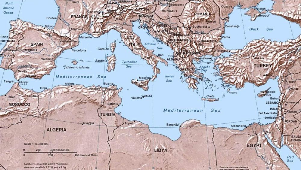 Туристическая карта средиземного
