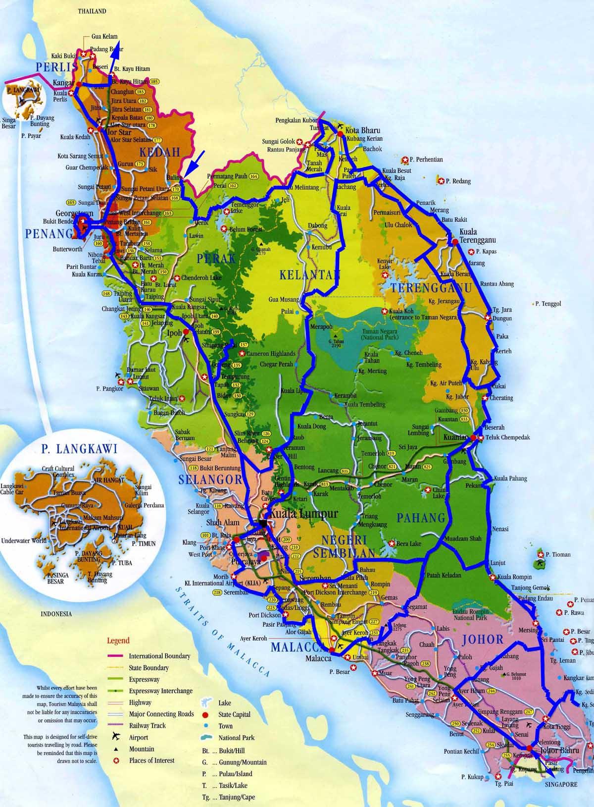 Туристическая карта малайзии