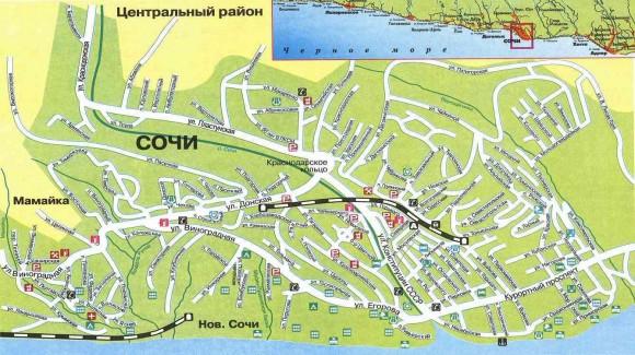Туристическая карта Сочи