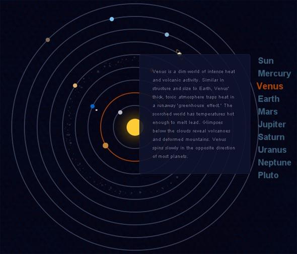 Карта солнечной системы с использованием CSS3