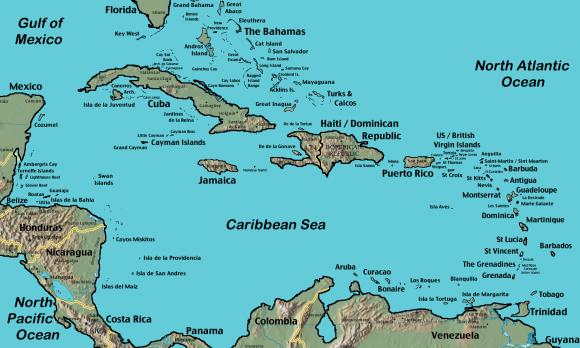Карибские острова на карте
