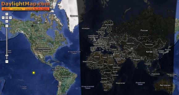Карта мира ночная