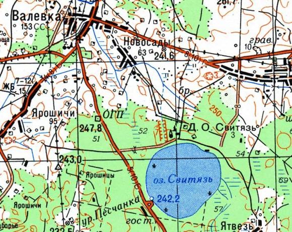 Карта озера Свитязь
