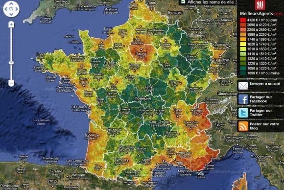 недвижимость Франции на карте