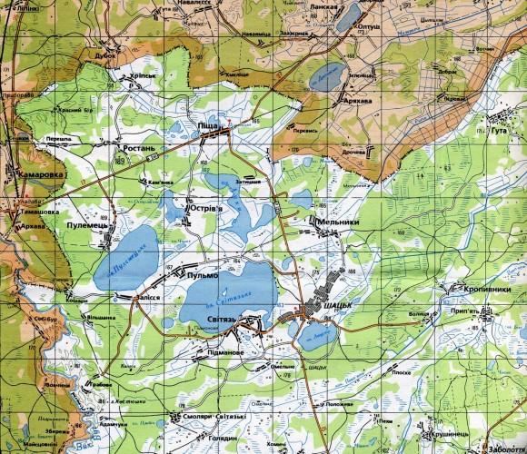 Карта Шацкие озера