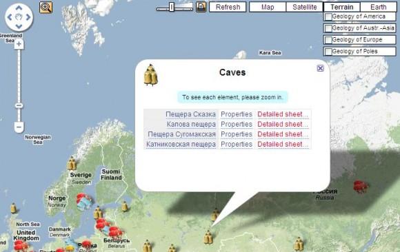 Спелеология на карте