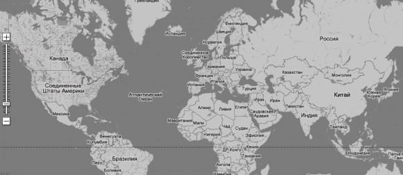 черно-белая карта мира