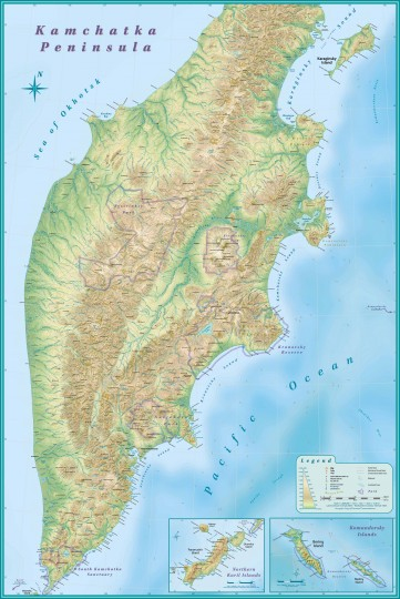 Камчатка-карта подробная