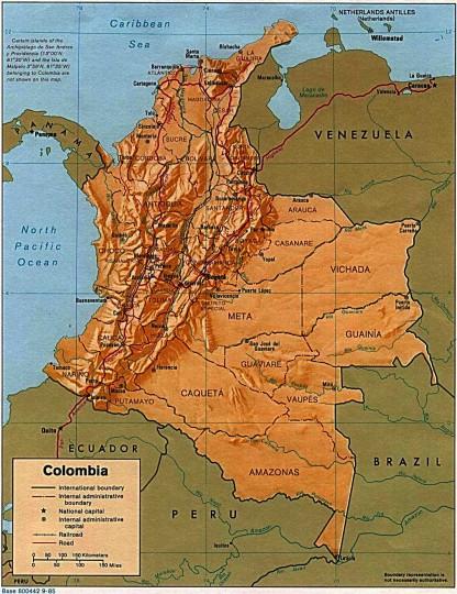Карта Колумбии