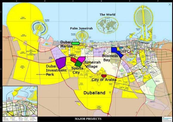 Карта Дубая туристическая
