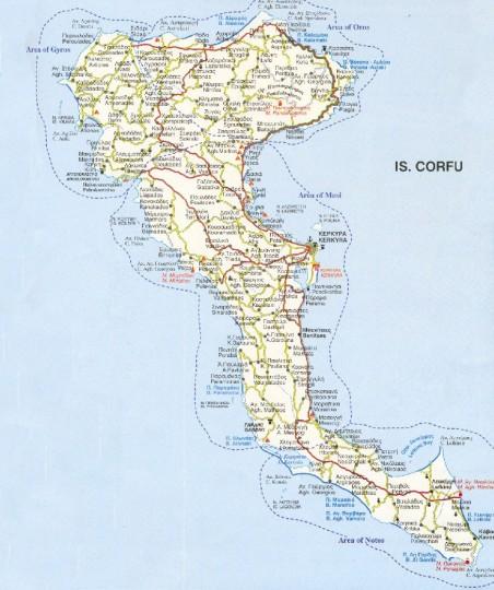 карта острова Корфу