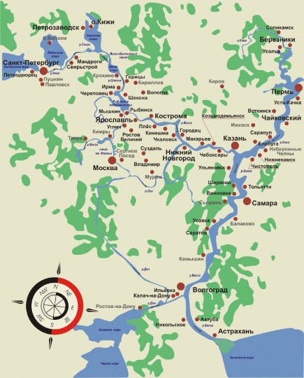 Карта речных круизов