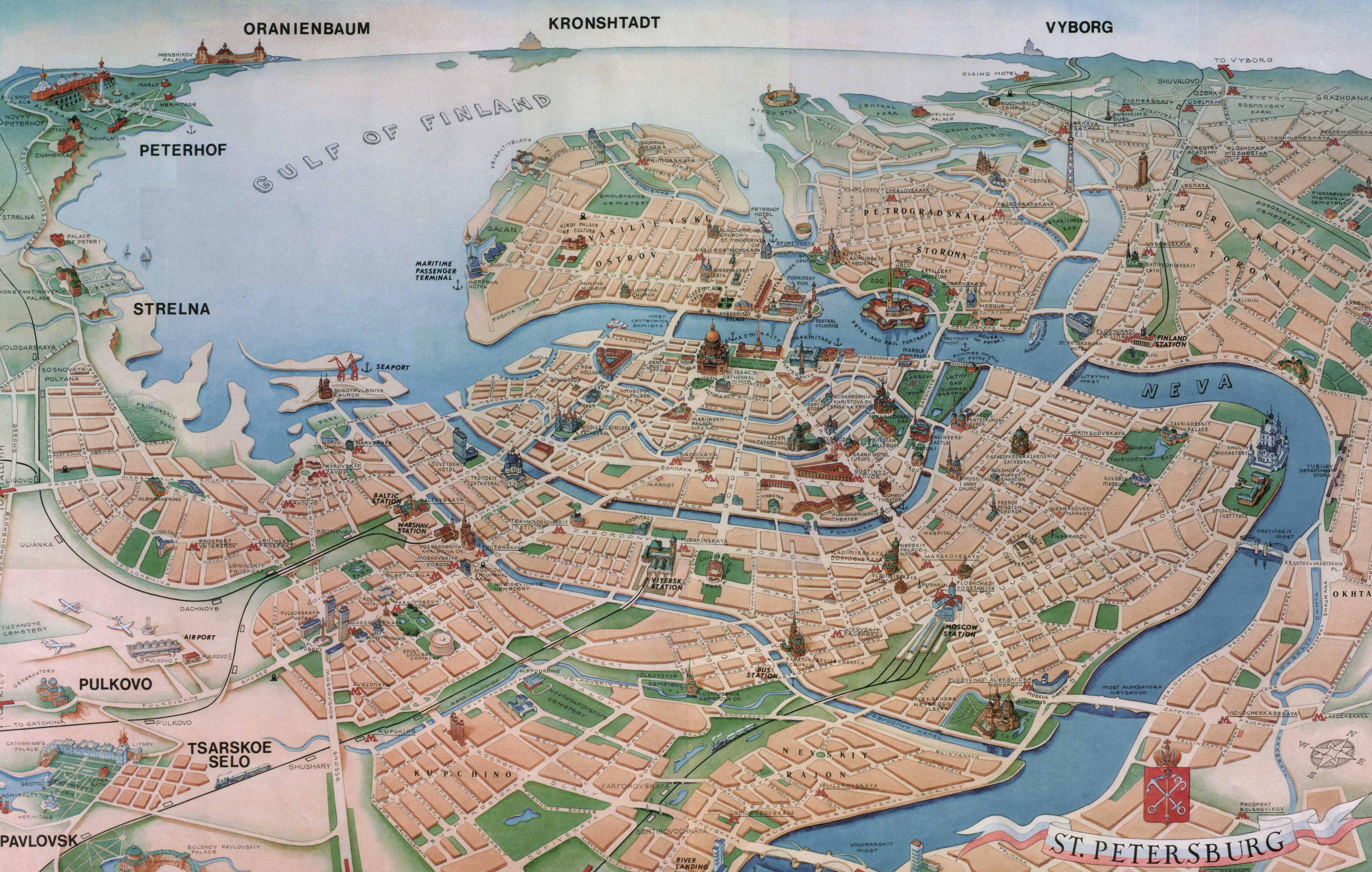 Карта санкт петербурга туристическая