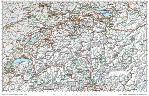 Автомобильная карта Швейцарии