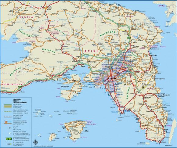 Полуостров Аттика-карта