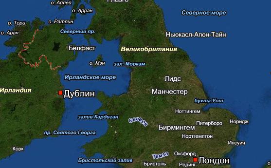 Карта Англии Великобритании на русском языке