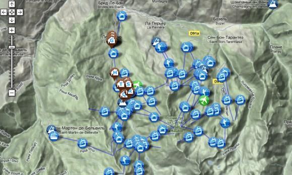 Карта горнолыжных курортов интерактивная