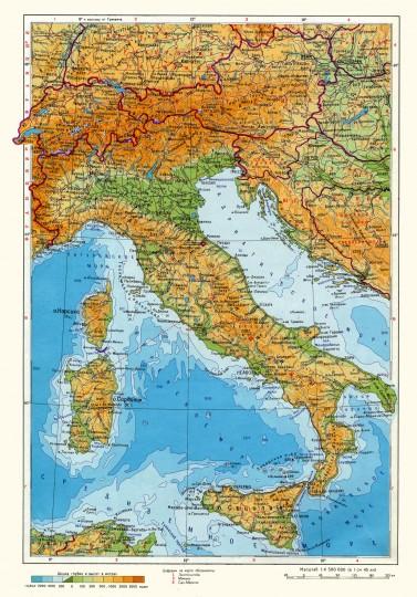 Карта Италии подробная на русском языке