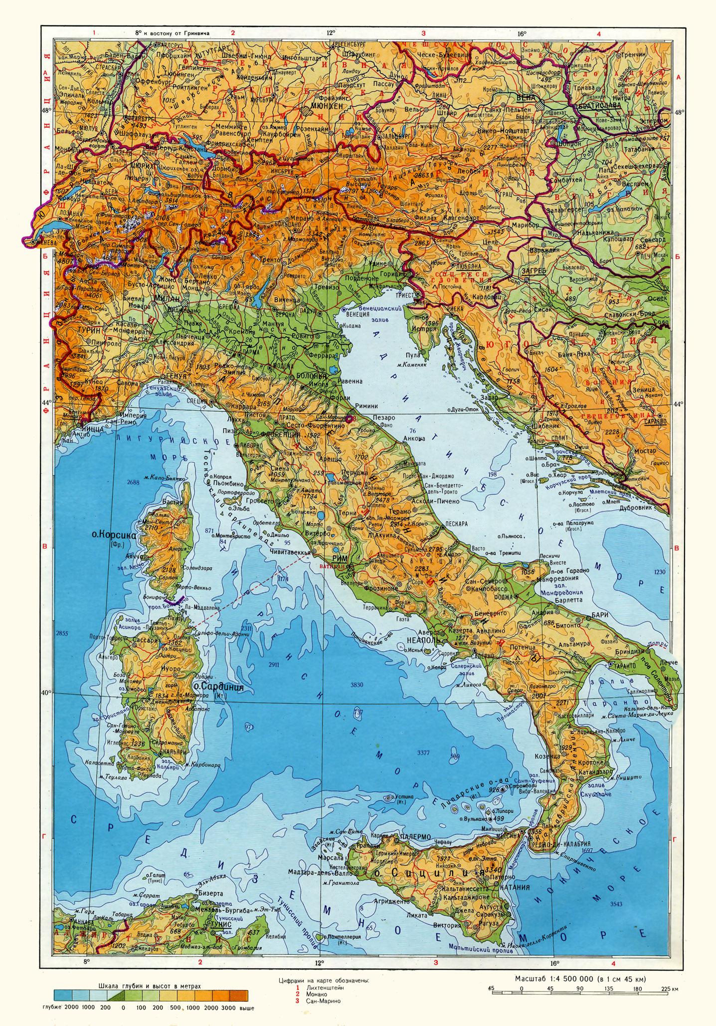 Карта италии подробная на русском