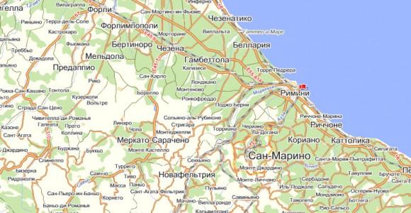 Карта Римини на русском языке