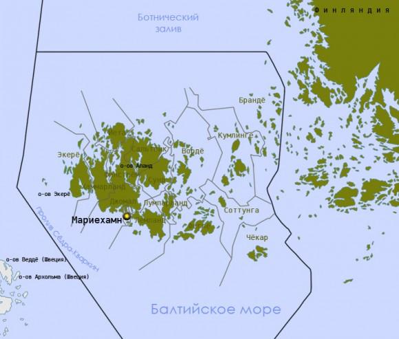 Аландские острова на карте