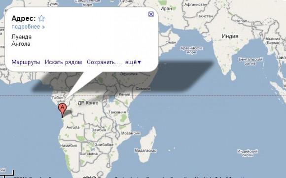 Ангола на карте мира