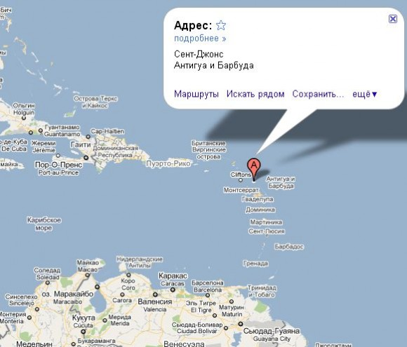 Антигуа и Барбуда на карте