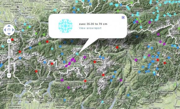 Глубина снега карта