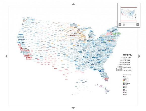 Карта американских фамилий