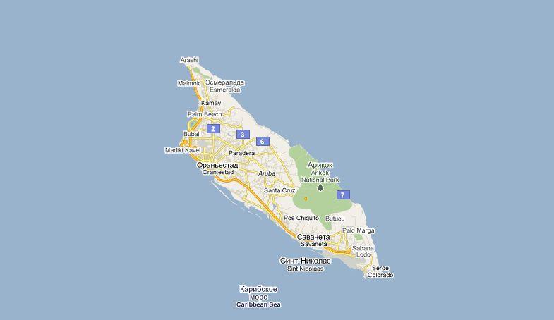 Аруба на карте