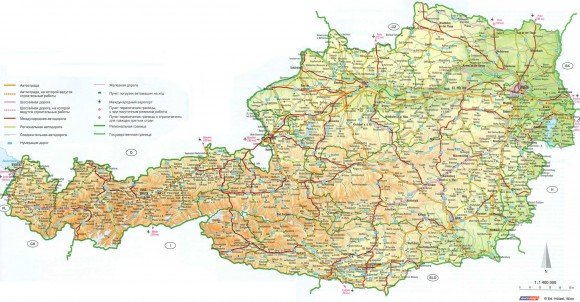 Карта Австрии автомобильная подробная