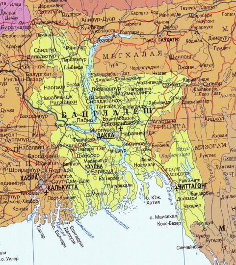 Где на карте мира находится бангладеш