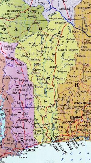 Карта Бенина
