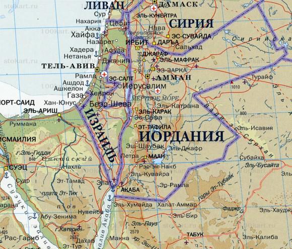 Карта Иордании на русском языке