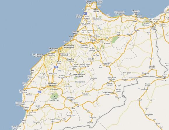 Карта Марокко на русском языке