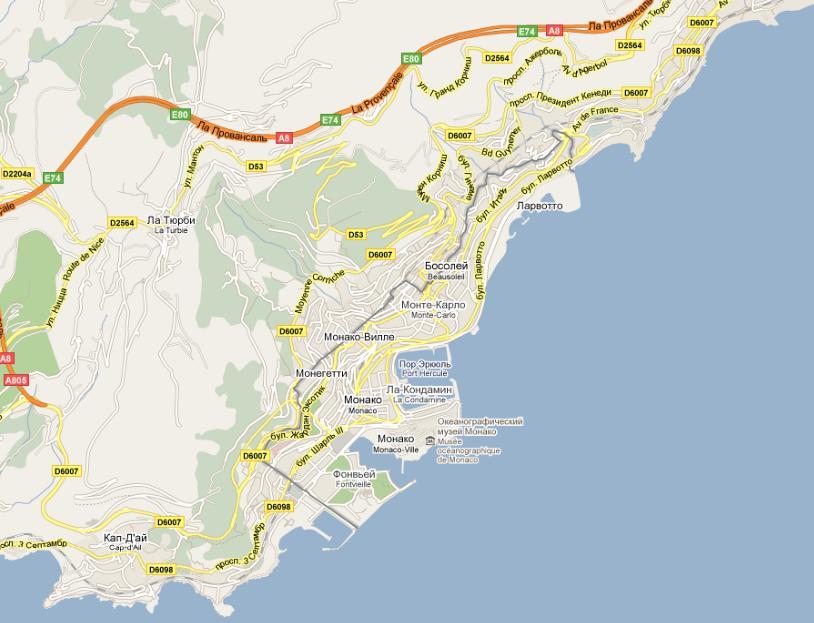 Monako Na Karte Infokart
