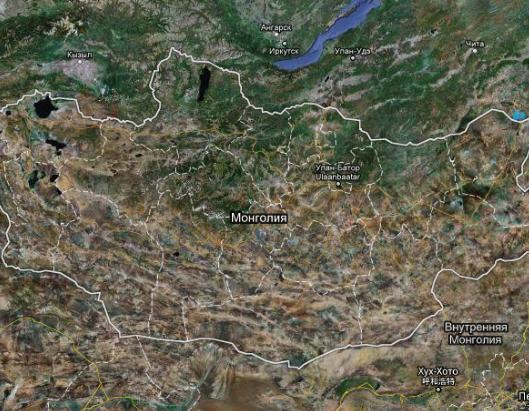 Карта Монголии спутниковая