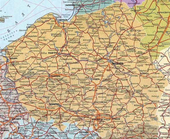 Карта Польши на русском языке