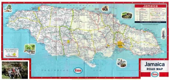 Карта Ямайки туристическая подробная