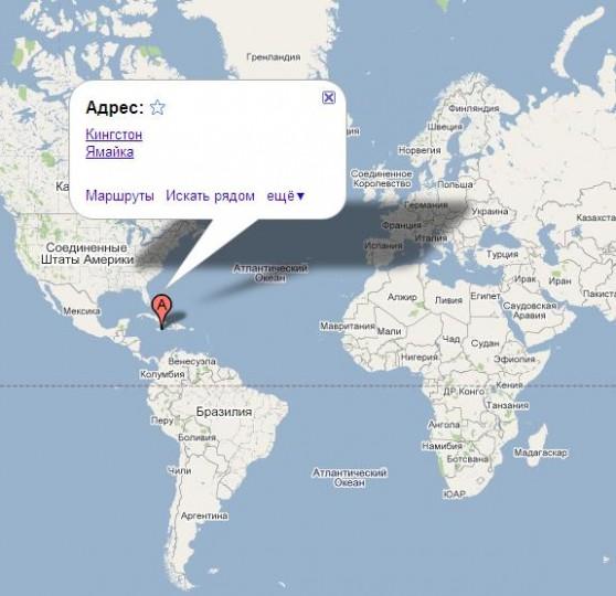 Ямайка на карте мира