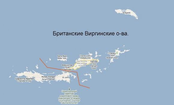 Британские Виргинские острова карта