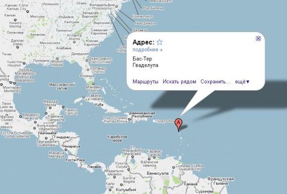 Гваделупа на карте мира