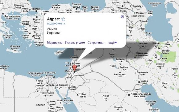 Иордания на карте мира