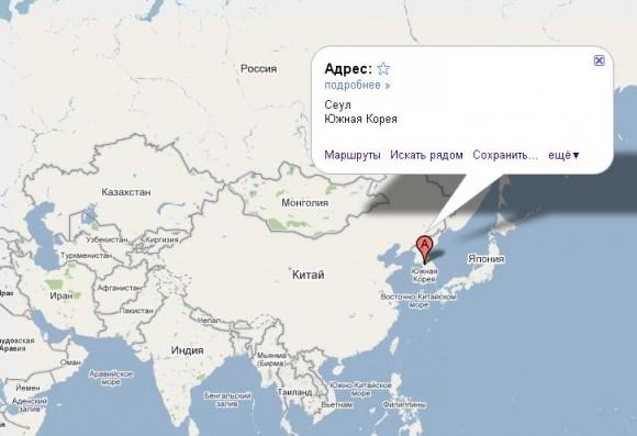 Южная Корея на карте