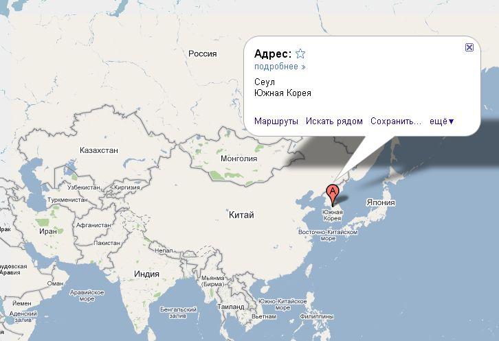Корея где находится на карте