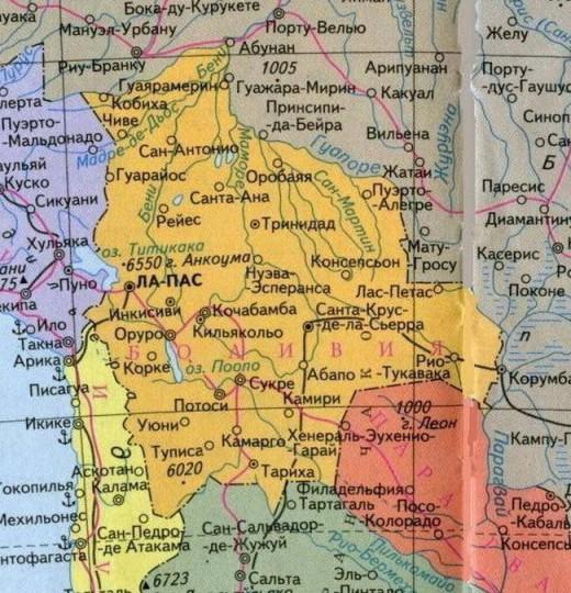 Карта Боливии