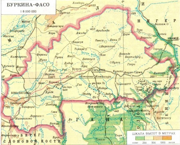 Карта Буркина Фасо
