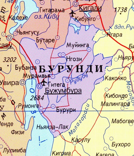 Карта Бурунди