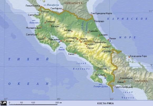 Карта Коста-Рики