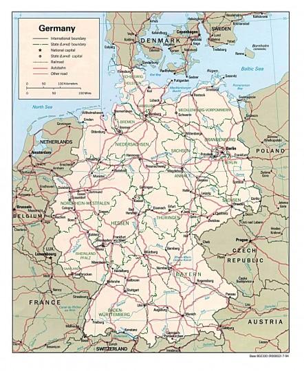 Карта Германии на немецком